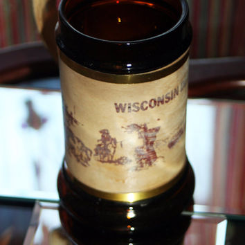 Wisconsin Dells Vintage Souvenir Mug Brown Glass with Wooden Handle & Brass Accent