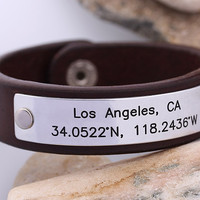 Coordinates Leather Bracelet - Personalized GPS Latitude Longitude Leather Bracelet - Mens Leather Bracelet