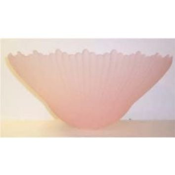 """63847 - Pink Acid Etched Glass Lamp Shade - 1 5/8 Inch Hole X 16"""" Diameter 7 3/4"""" Height"""