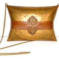Vintage Brass Copper Metal Purse, Victorian Style Clasp, Victorian Revival