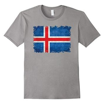 Flag Of Iceland T-Shirt in Vintage Retro Style