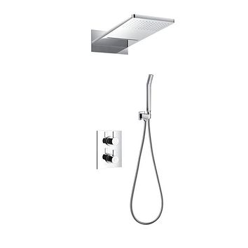 DAX-8379 / DAX SHOWER SYSTEM, FAUCET SET, WITH SQUARE RAIN WATERFALL SHOWER HEAD AND HAND SHOWER, WALL MOUNT, BRASS BODY, CHROME FINISH
