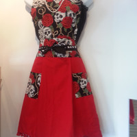 Vintage Inspired Red and Black Dia De Los Muertos, Day of the Dead  Style Apron