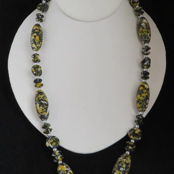 Black Spatter Bead Necklace, Boho Black White Yellow Necklace, Hippie Jewelry Gift Idea