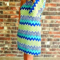 Chevron Flared Sleeve Dress