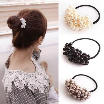 ESBG8W Hot Sale Craft Woven Beads Elastic Hair Ring Rubber Headband  for Women Hair Accessories