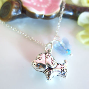 Puffy dog zodiac charm cherry blossom blue butterfly Swarovski crystal necklace