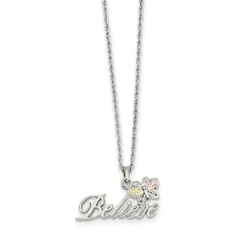 Sterling Silver & 12K Butterfly Believe Necklace QBH184