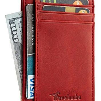 Travelambo Front Pocket Minimalist Wallets-Leather Slim Money Clip RFID Blocking
