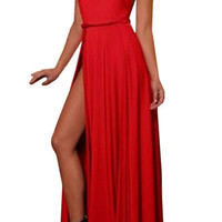 Red Backless Split Dress With Belt