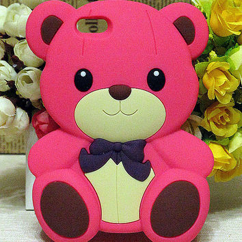 Cute Peach *Animal* 3D Tiny Bear Soft Silicone Case Cover for iPhone 5 5G