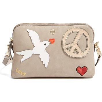 Tory Burch Peace Embellished Suede Crossbody Bag | Nordstrom