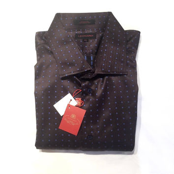 "Leonardi ""Spreader Polka Dot"" Brown Button Up Shirt"