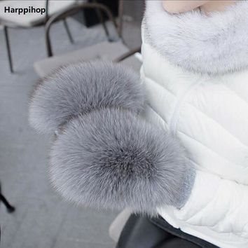 2017 new Women Fashion Brand New Genuine Woollen Fox Fur Covered Winter Gloves Mittens