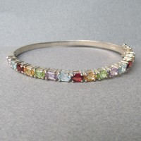 Vintage Multi Gemstone Sterling Silver Hinged Bangle Bracelet, Large 7 1/2""