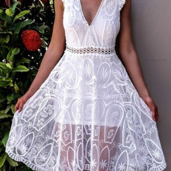 White Plunge Cut Out Open Back Embroidery Lace Dress