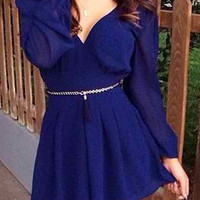 Blue V-Neck Backless Chiffon Dress