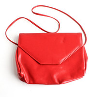 SALE - Vintage Red Faux Leather Purse - 1980s Bright Envelope Pocketbook Fashion Accessory / Lipstick Red Bag