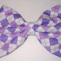 Purple White Oxford Print Handmade Hair Bow Hair Accessory Hair Clip
