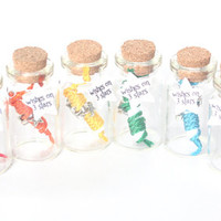 Rainbow Make a Wish Bracelets:  Bracelets with 3 Stars,Message in a Tiny Bottles-Set of 8, Friendship bracelets, Party Favor, Colorful Gifts