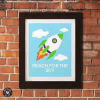 Reach for the Sky - Toy Story Motivational Poster - Rocketship Minimalist Wall Art - Sizes - 5X7 - 8X10 - 16X20 Inches
