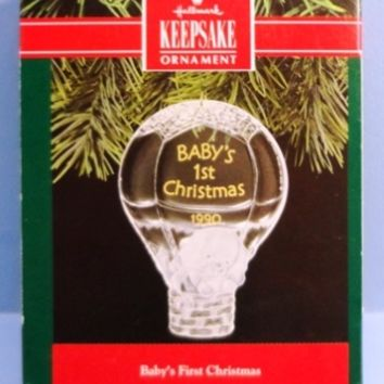 1990 Baby's First Christmas Hallmark Acrylic Retired Ornament