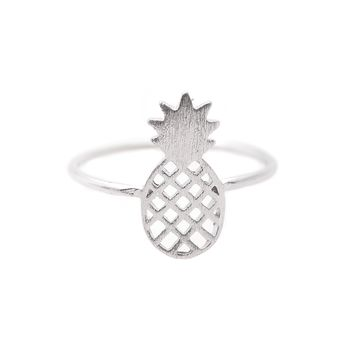 Sterling Silver Handcrafted Brushed Metal Pineapple Ring