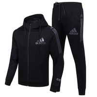 ADIDAS new outdoor running men's sports suit two-piece Black