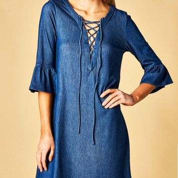 Denim Lace Up Dress