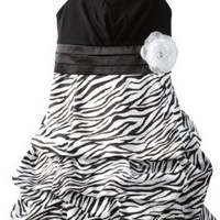 Amy Byer Big Girls' Zebra Pickup Dress, Black, 16