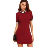 Casual Burgundy Striped Trim Ribbed Knit Bodycon Dress