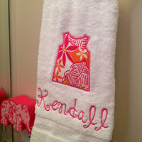 Monogrammed Towel with Lilly Pulitzer Fabric