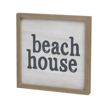 Beach House - Framed Barn Wood Box Sign 10-in