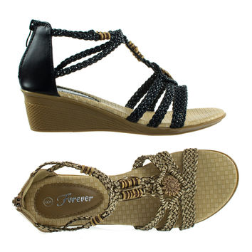 Paramount10 by Forever, Espadrille Woven Open Toe Wedge Sandal w Beaded Gladiator Cage Strap