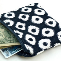 Coin Purse/Zippered Pouch in Blue and White Ikat