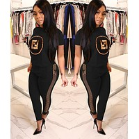 FENDI New Trending Women Casual Top Pants Sweatpants Set Two-Piece Sportswear Black
