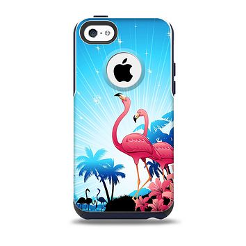 The Vibrant Flamingo Scenery Skin for the iPhone 5c OtterBox Commuter Case
