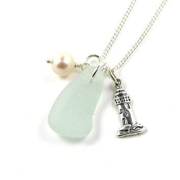 Pale Cucumber Sea Glass, Sterling Silver Lighthouse Charm, Freshwater Pearl Necklace