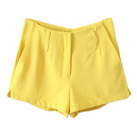 ROMWE Split Zipperd Sheer Yellow Pant