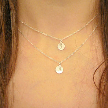 Sterling Silver Layered Tiny Double Letter Initial Disc Necklace Bridesmaids Birthday Christmas Double Strand Necklace Mother's Necklace