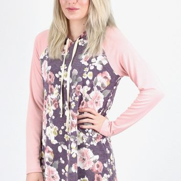 Floral Body + Solid Sleeve Hoodie Tunic {Plum Mix}