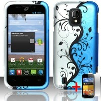 ZTE MAJESTY Z796C BLUE SILVER FLOWER VINE COVER HARD CASE + FREE SCREEN PROTECTOR from [ACCESSORY ARENA]