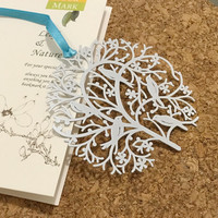 Tree & Bird Metal Bookmark Mini Greeting card + Envelope | Korea Stationery | Book Markers Art Filigree | Birthday Accessories Stationery