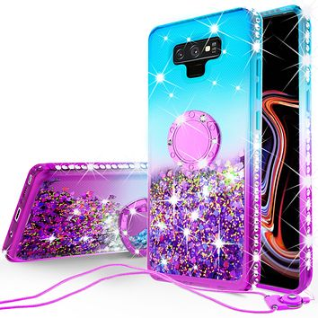 Glitter Phone Case Kickstand Compatible for Samsung Galaxy Note 9 Case, SM-N960U Case,Ring Stand Liquid Floating Quicksand Bling Sparkle Protective Girls Women for Galaxy Note 9 - (Teal Gradient)