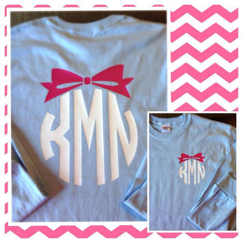 SHORT SLEEVE Circle Bow Monogram T-Shirt Womens Vinyl