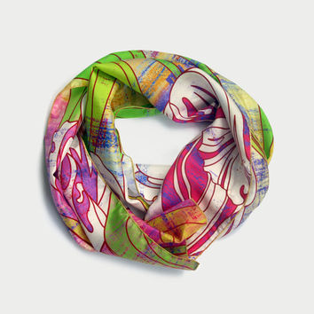 Colourful Floral 100% silk scarf original design made by the artist and digitally printed. Free international shipping!