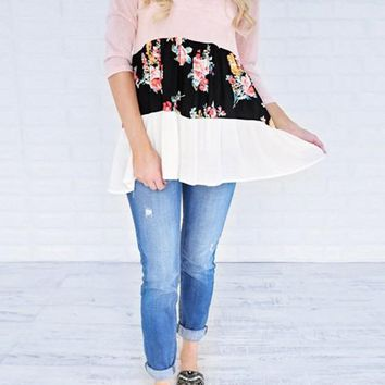 Pink Patchwork Floral Draped Round Neck Elbow Sleeve T-Shirt