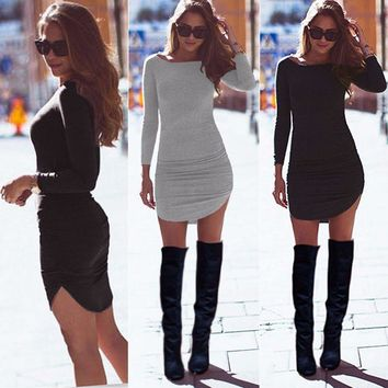 Sexy Hot Women Ladies Bodycon Party Long Sleeve Casual Tunic Top Short Mini Dress Autumn drop shipping designer clothes