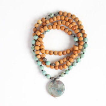 I Am Creative and Empowered Mala -- 108 Handknotted Sandalwood with Chrysocolla, Amazonite, and Labradorite