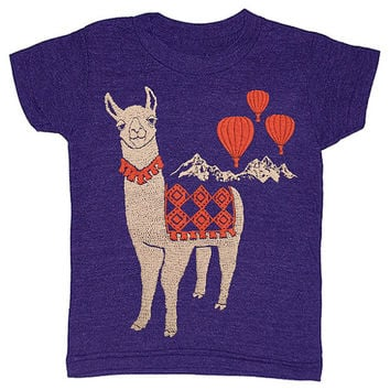 YOUTH / Llama - T-shirt Girl Boy Children Toddler Cute Adorable Shirt Animal Peru Alpaca Red Hot Air Balloons Indigo Blue Tshirt